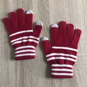 Cute Red And White Striped Gloves 🧤🥰 🧤
